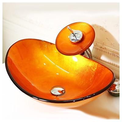 Orange Boat-shaped Tempered...