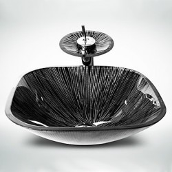 Black+White Square Tempered Glass Vessel Sink with Waterfall Tap Pop - Up Drain and Mounting Ring