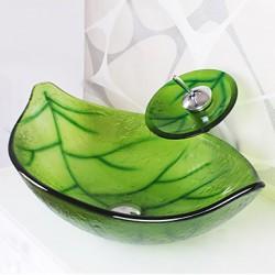 Green Leaf Shape Tempered...
