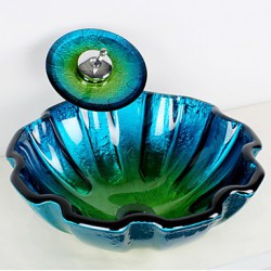 Blue Round Tempered Glass...