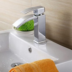 Contemporary Brass Chrome Vertical Bathroom Sink Tap - Silver