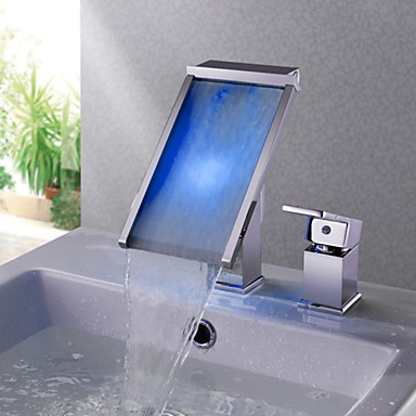 Contemporary Chrome Brass Personalized Single Handle LED Bathroom Sink Tap  U2013 Silver
