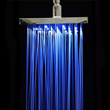 Chrome Polished ABS 3 Colors Changing Sqaure Showerhead 8 Rain Shower Head