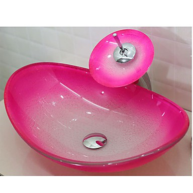 Pink Boat Shaped Tempered Glass Vessel Sink With Waterfall Tap Pop ...